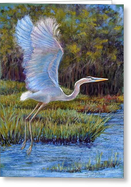 Water Bird Greeting Cards - Blue Heron in Flight Greeting Card by Susan Jenkins