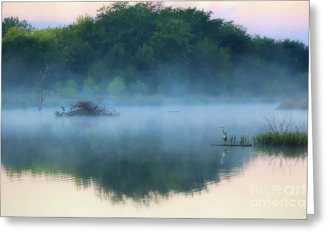 Blue Heron Lake Greeting Card by Elizabeth Winter