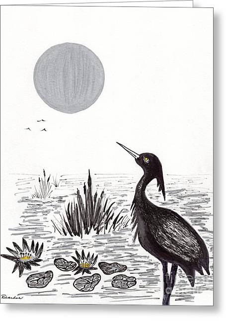Crowned Night Heron Lily Pond Paradise In Ink D2 Greeting Card by Ricardos Creations