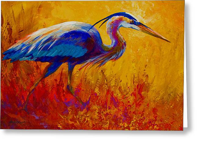 Blue Heron Greeting Card by Marion Rose