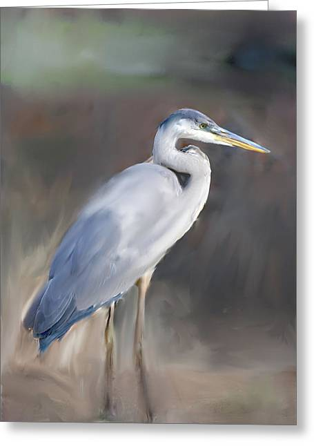 Best Sellers -  - Abstract Digital Paintings Greeting Cards - Blue Heron Painting  Greeting Card by Don  Wright