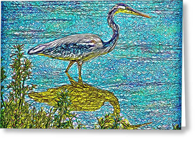 Blue Heron Reflections - Lake In Boulder County Colorado Greeting Card by Joel Bruce Wallach