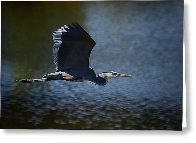 Blue Heron Skies  Greeting Card by Saija  Lehtonen