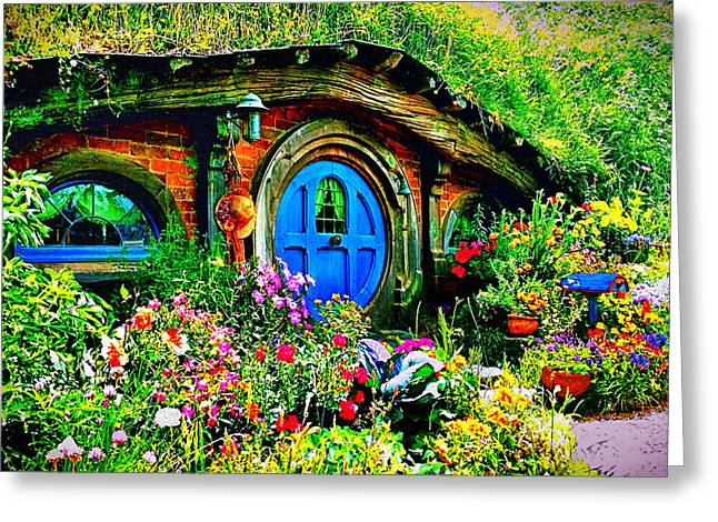 Lord Of The Rings Greeting Cards - Blue Hobbit Door Greeting Card by Kathy Kelly
