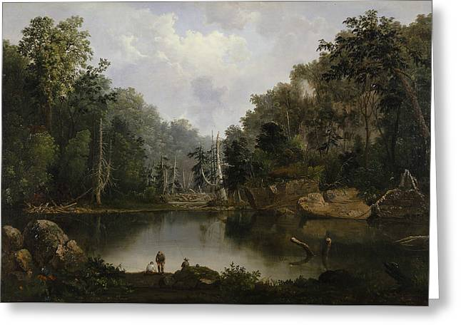 Blue Hole Flood Waters Little Miami River Greeting Card by Robert Seldon Duncanson