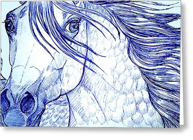 blue horse Greeting Card by Jenn Cunningham