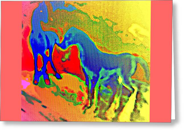 Blue Horses Having A Date  Greeting Card by Hilde Widerberg