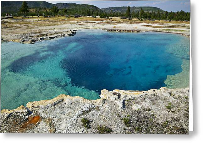 Geothermal Greeting Cards - Blue hot springs Yellowstone National Park Greeting Card by Garry Gay