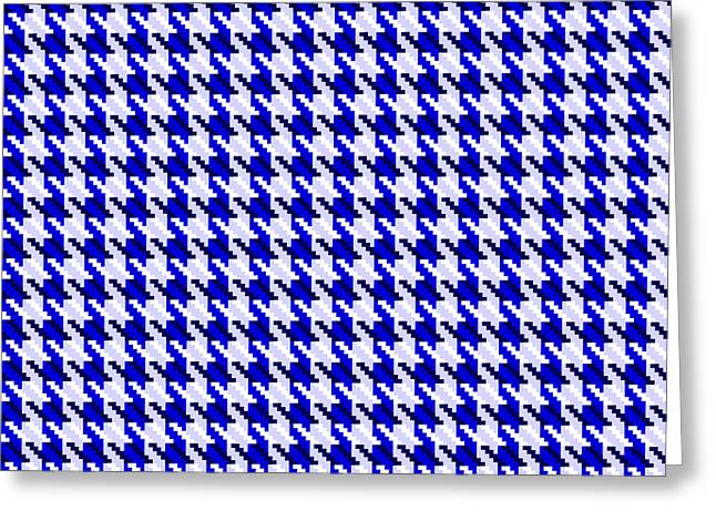 Hounds Tooth Greeting Cards - Blue Houndstooth Check Greeting Card by Jane McIlroy