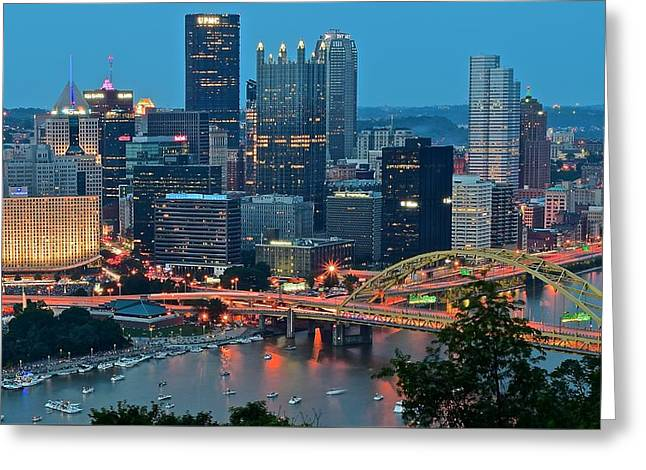 Blue Hour In Pittsburgh Greeting Card by Frozen in Time Fine Art Photography