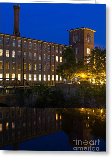 Textile Photographs Greeting Cards - Blue Hour over the Cocheco Mills Dover New Hampshire Greeting Card by Dawna  Moore Photography