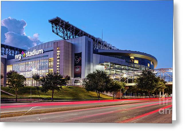 Blue Hour Photograph Of Nrg Stadium - Home Of The Houston Texans - Houston Texas Greeting Card by Silvio Ligutti