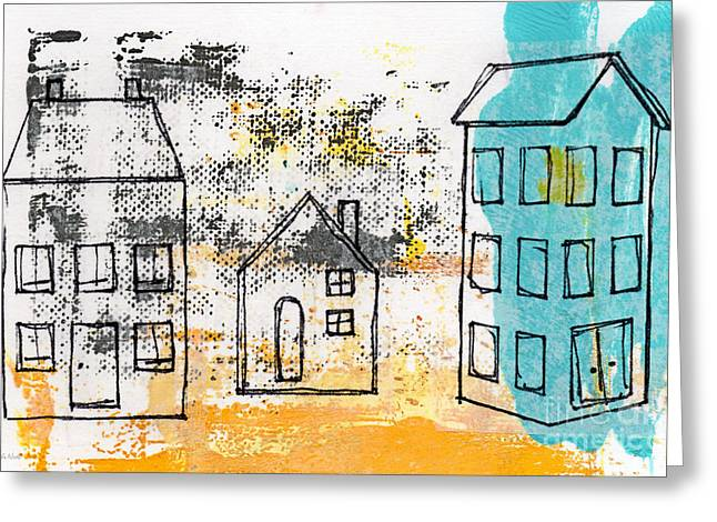 Blue House Greeting Card by Linda Woods