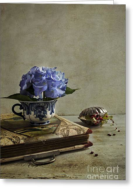 Tabletop Greeting Cards - Blue Hydrangea Greeting Card by Elena Nosyreva