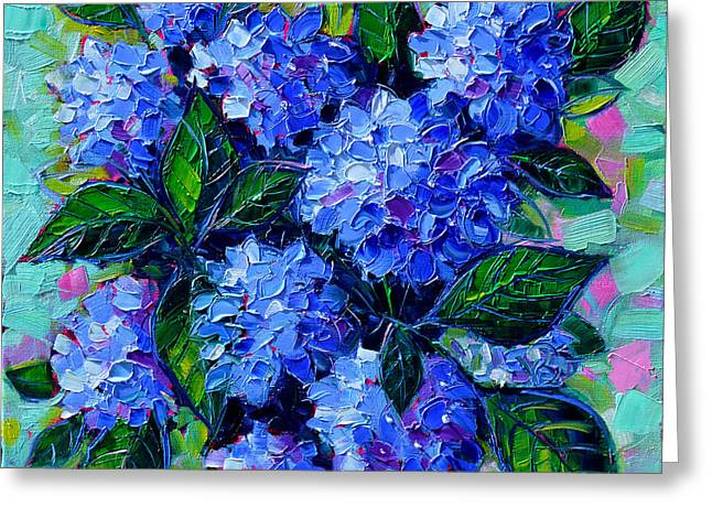 Contemporary Oil Greeting Cards - Blue Hydrangeas - Abstract Floral Composition Greeting Card by Mona Edulesco