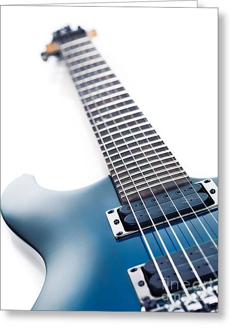 Cut-outs Greeting Cards - Blue Ibanez electric guitar closeup isolated on white Greeting Card by Oleksiy Maksymenko