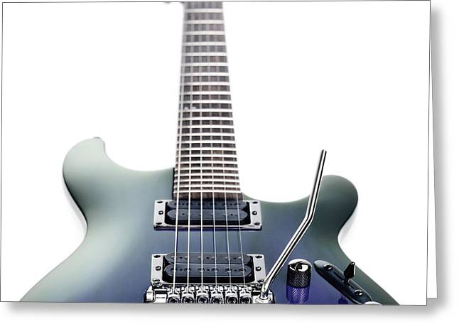 Cut-outs Greeting Cards - Blue Ibanez electric guitar isolated on white Greeting Card by Oleksiy Maksymenko