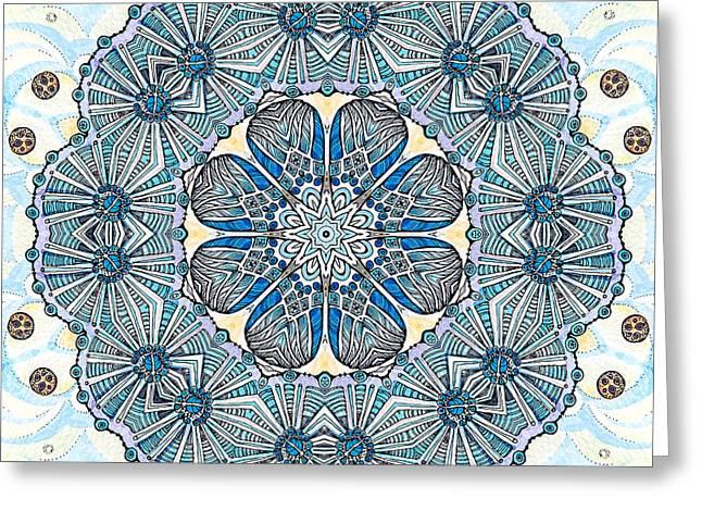 Pen Greeting Cards - Blue Ice fllowers Mandala Greeting Card by Sviatlana Kandybovich