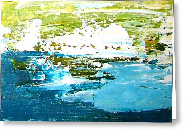 Blue Green Wave Greeting Cards - Blue Ice Green White Greeting Card by Luciana Toma