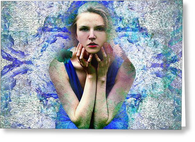 Pensive Greeting Cards - Blue ice Greeting Card by Ludmila SHUMILOV