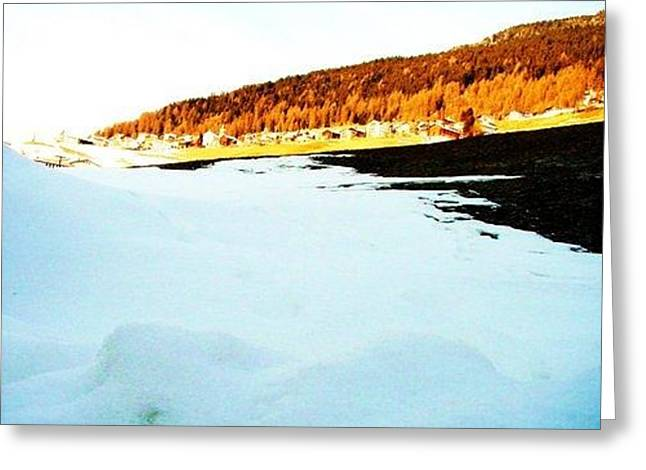 Switzerland Tapestries - Textiles Greeting Cards - Blue ice Greeting Card by Nila  Poduschco