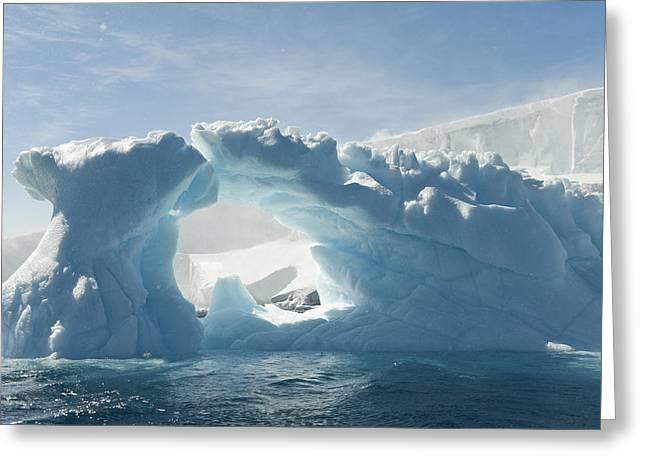 People On Ice Greeting Cards - Blue Iceberg With Sun Overhead, Ice Cap Greeting Card by Daisy Gilardini
