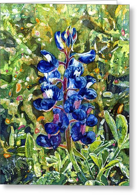 Bluebonnet Landscape Greeting Cards - Blue in Bloom Greeting Card by Hailey E Herrera