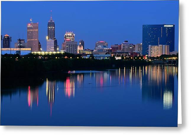 White River Greeting Cards - Blue Indianapolis Greeting Card by Frozen in Time Fine Art Photography