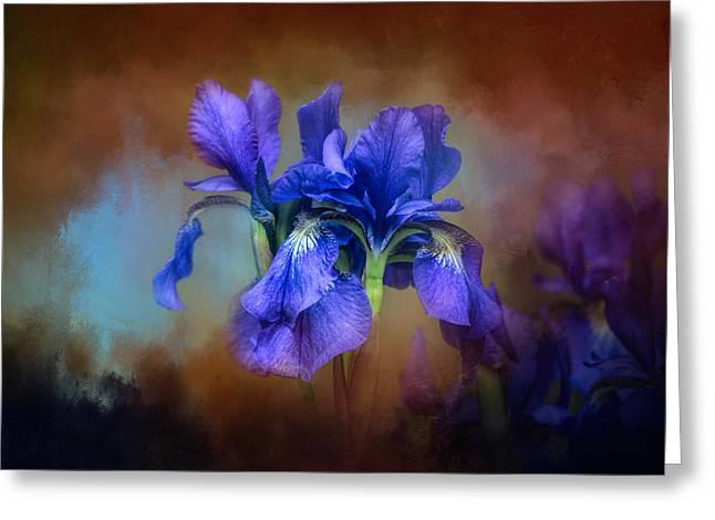 Blue Iris Blooms Greeting Card by Jai Johnson
