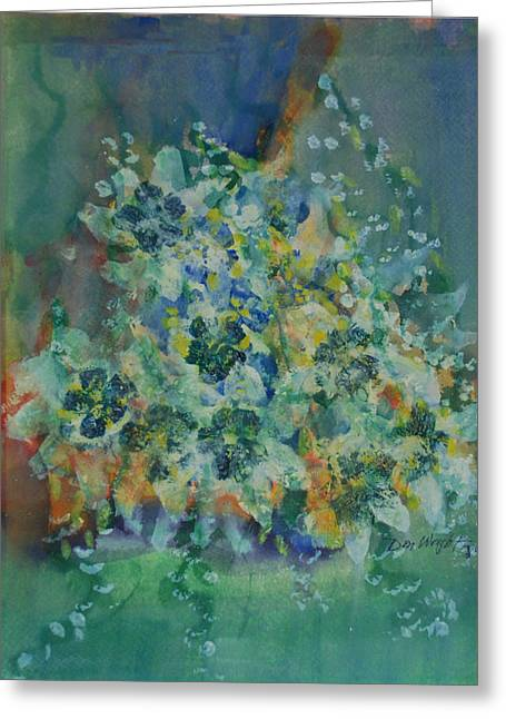 Vase Of Flowers Mixed Media Greeting Cards - Blue Jasmine  Greeting Card by Don  Wright