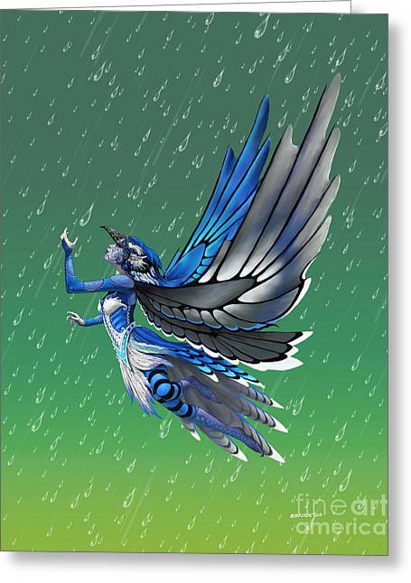 Blue Jay Fairy Greeting Card by Stanley Morrison