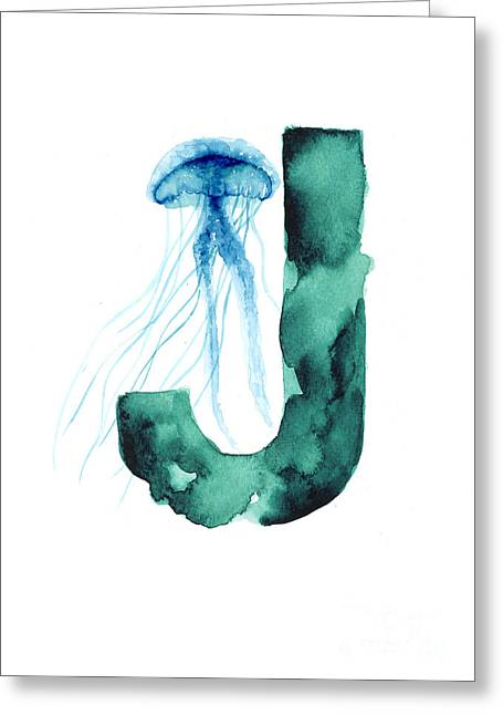 Blue Jellyfish Watercolor Alphabet Poster Greeting Card by Joanna Szmerdt