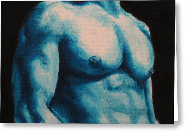 Blue Greeting Card by Jindra Noewi