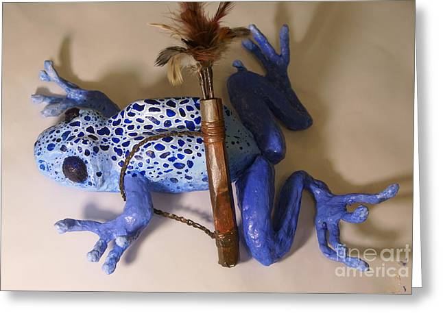 Amphibians Sculptures Greeting Cards - Blue Greeting Card by Kathryn Launey