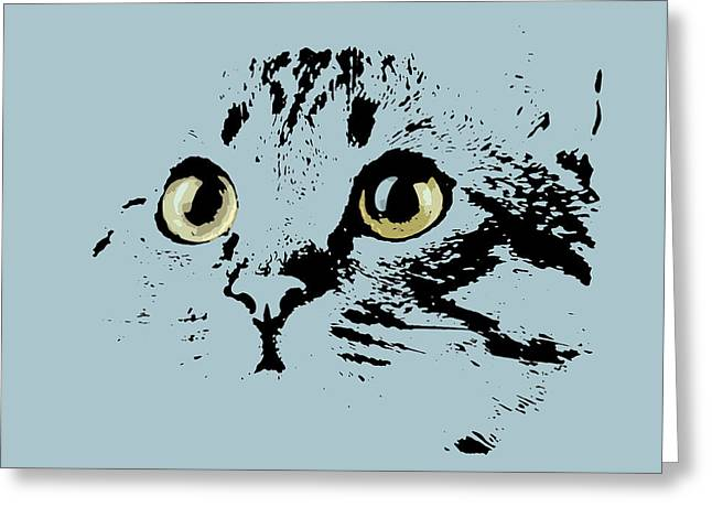 Blue Kitten Portrait Greeting Card by Pablo Franchi