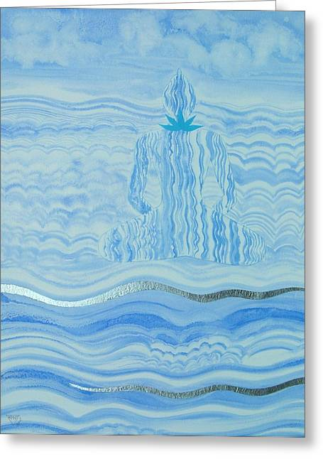 Crystal Healing Greeting Cards - Blue Lace Agate Throat Chakra Greeting Card by Jennifer Baird