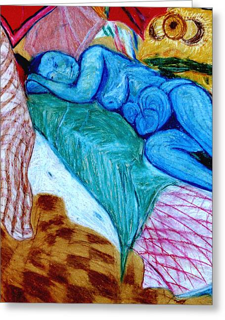 Fantastic Pastels Greeting Cards - Blue Lady Greeting Card by Frank Hiley