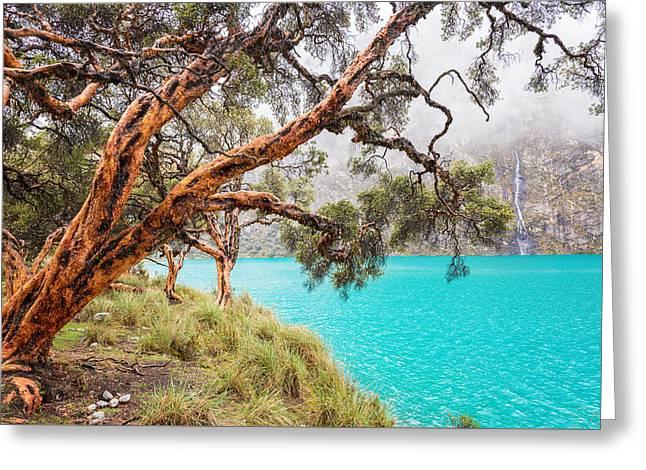 Peru Greeting Cards - Blue Lake in the Cordillera Blanca Greeting Card by Jess Kraft