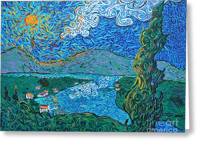 Squiggleism Greeting Cards - Blue Lake Greeting Card by Stefan Duncan