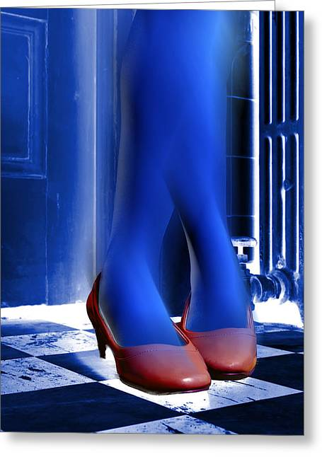Low Heeled Shoes Greeting Cards - Blue Legs and Red Shoes Greeting Card by Kellice Swaggerty
