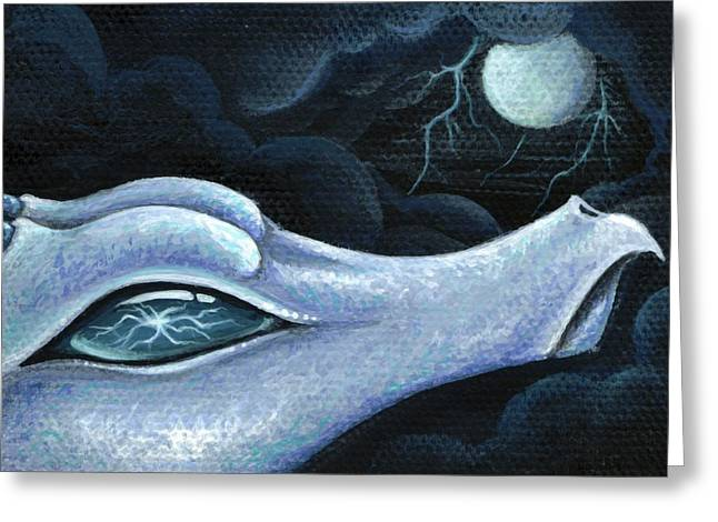 Fantasy Dragon Greeting Cards - Blue Lightning Greeting Card by Elaina  Wagner