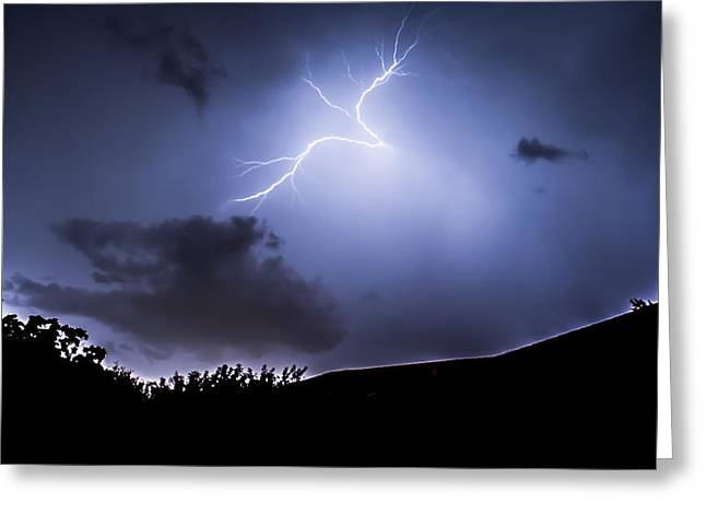 Electric Creation Greeting Cards - Blue Lightning Greeting Card by Shelby  Young