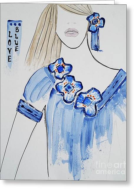 Art Book Greeting Cards - Blue Love Greeting Card by Jasna Gopic