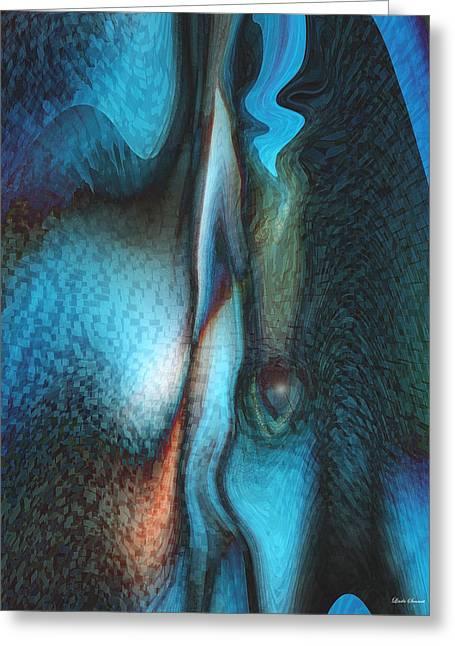 Blue Man Greeting Card by Linda Sannuti
