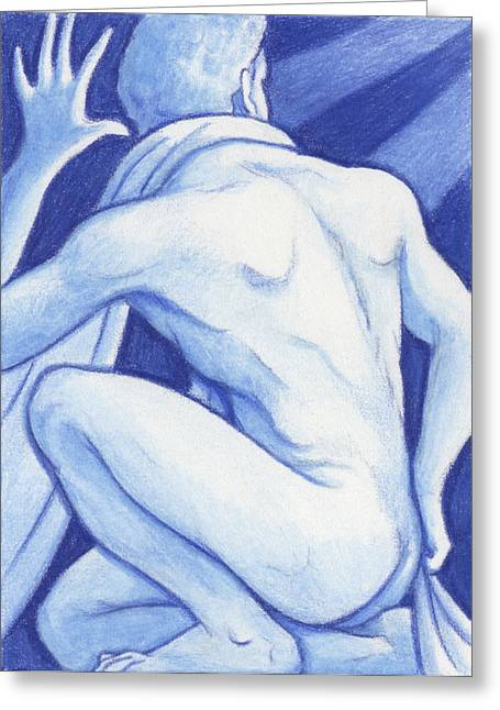 Aceo Drawings Greeting Cards - Blue Man Study Greeting Card by Amy S Turner