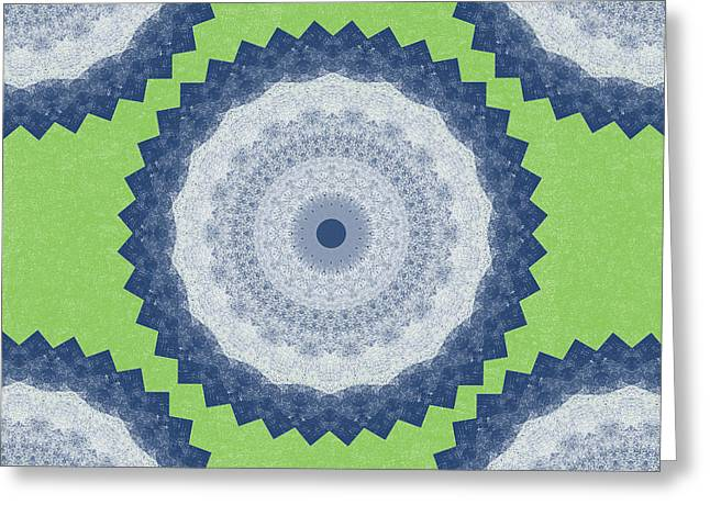 Blue Green Water Greeting Cards - Blue Mandala- Art by Linda Woods Greeting Card by Linda Woods
