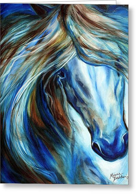 Marcia Greeting Cards - Blue Mane Event Equine Abstract Greeting Card by Marcia Baldwin