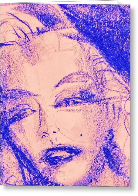 Beauty Pastels Greeting Cards - Blue Marilyn  Greeting Card by Tatjana Krilova