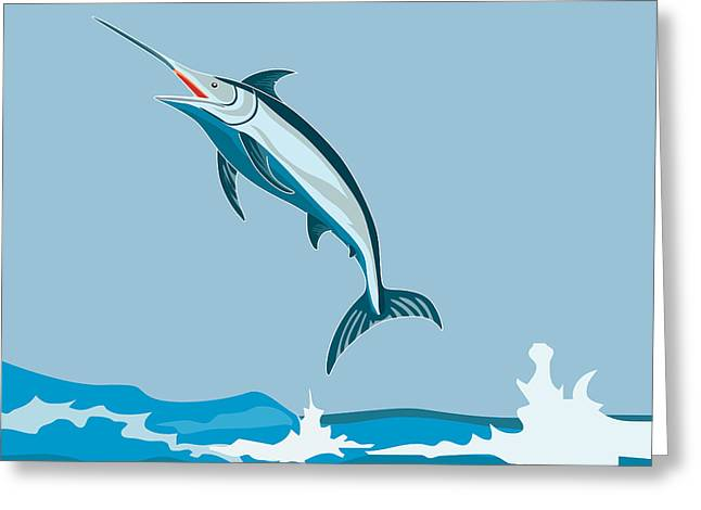 Blue Marlin  Greeting Card by Aloysius Patrimonio