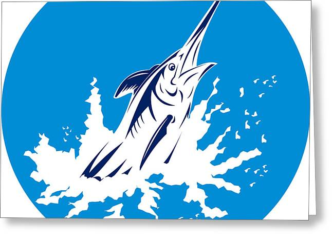 Swordfish Digital Art Greeting Cards - Blue Marlin circle Greeting Card by Aloysius Patrimonio